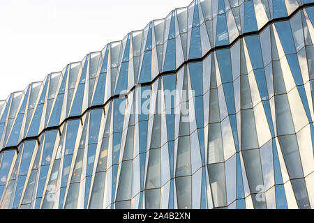 Glass Crystal Windows. Clear Glass Curtain Wall. Top Of Spandrel Facade System. - Stock Photo
