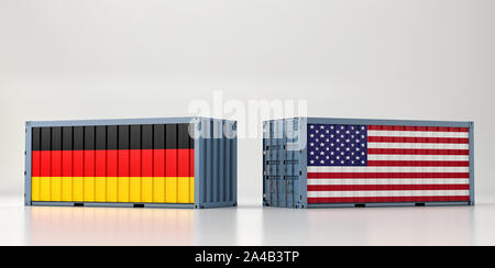 Two freight container with USA and Germany flag. 3D Rendering - Stock Photo