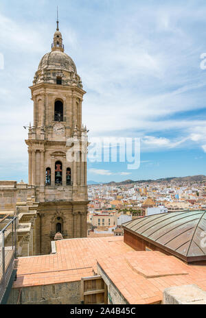 Panoramic sight in Malaga from the Cathedral rooftop. Andalusia, Spain. - Stock Photo