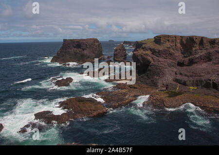 Wild seas around the cliffs of Eshaness, west Mainland, Shetland, Scotland - Stock Photo