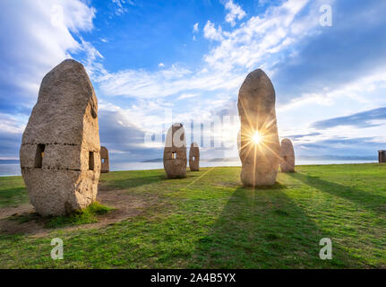 A Coruna, Spain - October 12 2018: Campo da Rata - monument, similar to the great prehistoric megaliths, was inaugurated in honor of the victims of Fr - Stock Photo