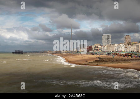 brighton seafron from the palace pier - Stock Photo