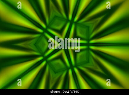 Abstract green background of heart shaped green leaves with kaleidoscope effect - Stock Photo