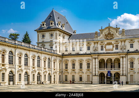 The French inspired Façade of the castle of Castello del Valentino a historic building located in Parco del Valentino ,Turin,Italy - Stock Photo