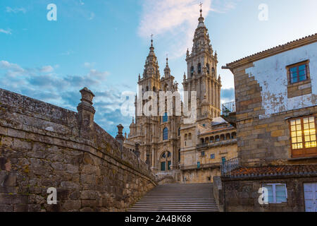 Old gothic Santiago de Compostela Cathedral, Galicia, Spain in the morning