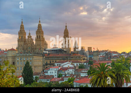 Aerial view on Santiago de Compostela Cathedral, Galicia, Spain in sunrise