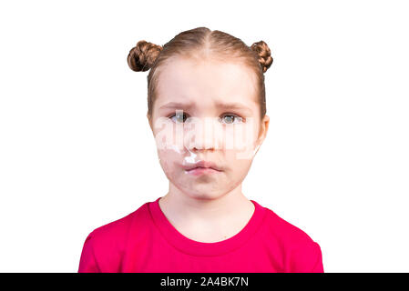 Girl with a sealed mouth. Isolated on a white background. - Stock Photo