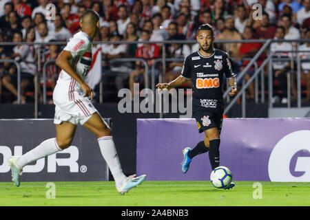 Sao Paolo, Brazil. 13th Oct, 2019. Clayson of Corinthians during the local derby match between Sao Paulo and Corinthians.  The game took place at Morumbi Stadium in Sao Paulo, SP.  The game was in the 25th round of the 2019 Brazilian Serie A league known in Brazil as Campeonato Brasileiro. Credit: Ricardo Moreira/SPP - Stock Photo