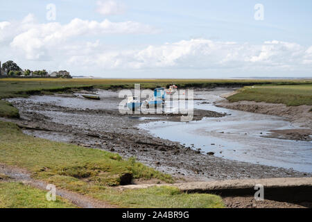 Loughor estuary at Low tide, from Penclawydd on the Gower Peninsula Wales UK, Welsh Coast, Coastline - Stock Photo