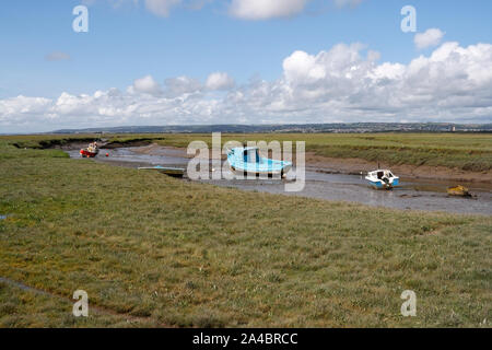 Loughor estuary at Low tide, from Penclawydd on the Gower peninsula, Wales UK, Welsh Coast, Coastline. - Stock Photo