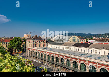 The beautiful exterior of Torino Porta Nuova railway station, the main railway station of Turin and the third busiest station in Italy