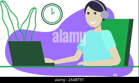 Customer service, man with headphones and microphone with computer. Concept illustration for support, assistance, call center. - Stock Photo
