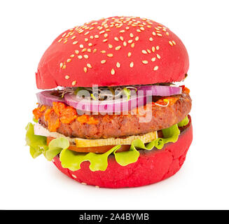 Delicious vegan burger with soy cutlet, tofu cheese sauce and red bun - Stock Photo