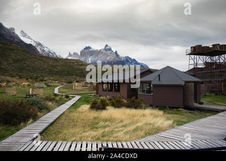 Paine Grande Refugio Campsite in Torres del Paine National Park, Chile - Stock Photo