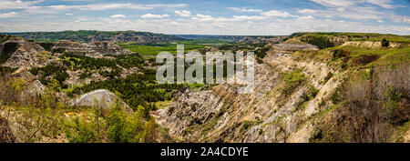 A panoramic view from the scenic drive at the North Unit of Theodore Roosevelt National Park in western North Dakota. - Stock Photo