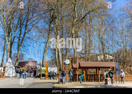 People at the entrance to the Konigsstuhl cliff in Jasmund National Park on Rugen island, Germany - Stock Photo