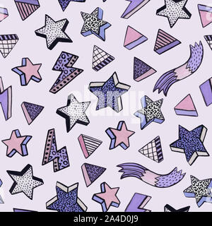 Simple watercolor seamless pattern in minimal memphis style with stars, triangles, stripes. Trendy design for Christmas background, wallpaper, wrappin - Stock Photo
