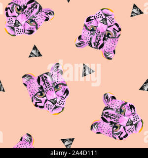Creative watercolor wild cat (ococelot) muzzle on white background. Exotic wild animal and geometric elements seamless pattern. Hand painted wildcat i - Stock Photo