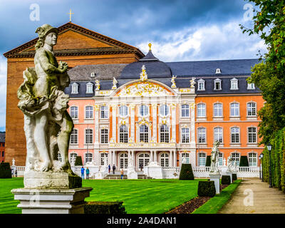 TRIER, GERMANY - OCTOBER 16, 2014: Statue of Mercury by Ferdinand Tietz in front of the Electoral Palace, Kurfuerstliches Palais and the Aula Palatina - Stock Photo
