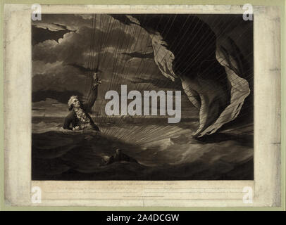 The perilous situation of Major Mony [i.e. Money], when he fell into the sea with his balloon on the 23rd of July, 1785, off the coast of Yarmouth ... - Stock Photo