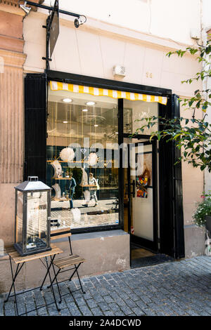 Strasbourg, France - Sep 21, 2019: Entrance door facade jewelry store L'Air du temps in central part of the city - Stock Photo