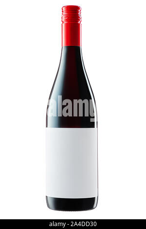 Wine bottle with label and red wine isolated on white background with clipping path. - Stock Photo