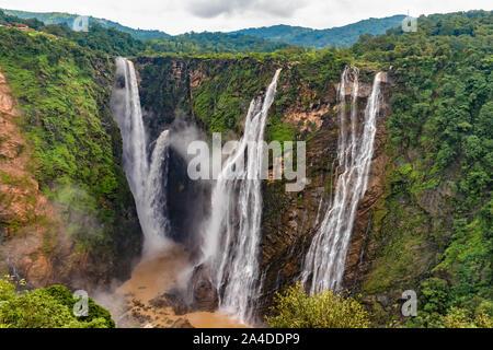 Beautiful view of very famous Jog Falls, Rocket Falls and Roarer Falls on Sharavathi River, in Western Ghats of Karnataka state in monsoon season. - Stock Photo