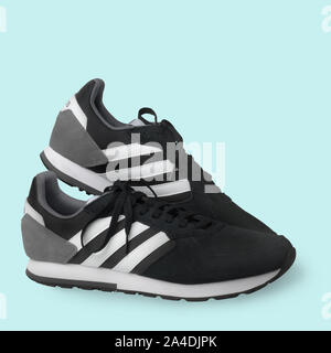 Adidas sports shoes sneakers black on a white background. Isolated. Samara. Russia. 2019-04-13 - Stock Photo