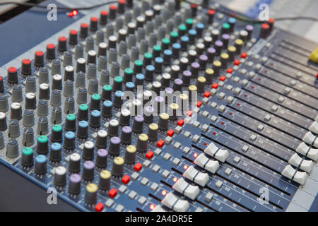 The part of Musical amplifier Sound amplifier or Music mixer with Knobs and Jack holes Picture of Musical amplifier Sound amplifier or Music mixer wit - Stock Photo