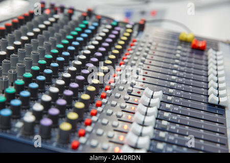 The part of Musical amplifier Sound amplifier or Music mixer with Knobs and Jack holes . Picture of Musical amplifier Sound amplifier or Music mixer w - Stock Photo
