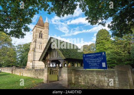 St Matthew's Church, an Anglican parish church in the Hampshire village of Blackmoor, UK - Stock Photo