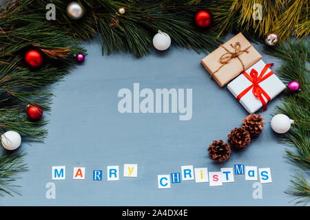 Christmas tree background gifts new year holiday decor - Stock Photo
