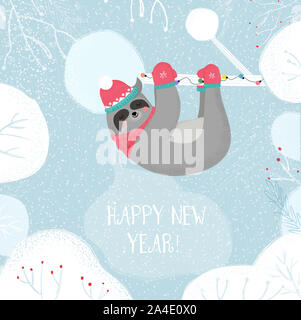 Cute Funny Sloth in Kintted Hat and Scarf Sleep Hanging on Tree Branch on Winter Snowy Background, Happy New Year Greeting Card. Kawai Animal Xmas Fun - Stock Photo