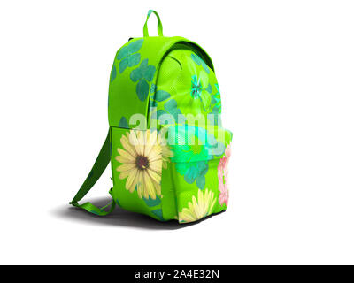 Modern green backpack in school for girl and teenager with flowers isolated 3d rendering on white background with shadow - Stock Photo