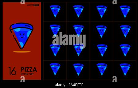 Set of cute pizza Line Icons In Different Expressions - Stock Photo