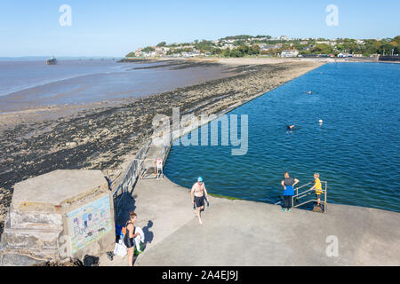 Swimmers at Marine Lake Lido from lookout, Clevedon, Somerset, England, United Kingdom