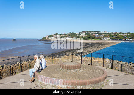 View of beach, pier and Marine Lake Lido from lookout, Clevedon, Somerset, England, United Kingdom