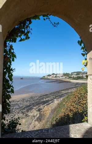 View of beach and pier from 'The Lookout',  Clevedon, Somerset, England, United Kingdom