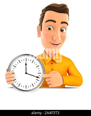 3d man pointing on a wall clock, illustration with isolated white background - Stock Photo