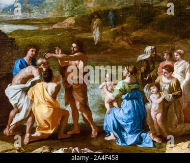 Nicolas Poussin, painting detail, Saint John, Baptizing in the River Jordan, 1630-1639 - Stock Photo