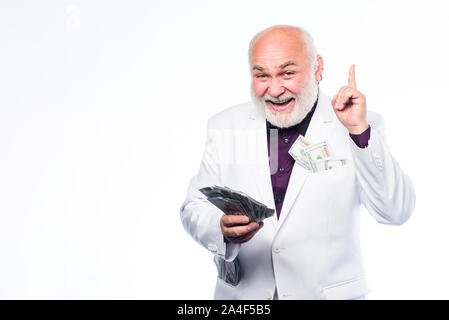 Banking and money savings. Richness and wellbeing. Savings system life insurance. Senior man pensioner hold cash money. Earn money profit. Cash security. Rich grandpa. Successful lucky businessman. - Stock Photo