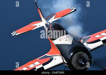 AEROBATIC DISPLAY, SUKHOI Su-26MX  AIRCRAFT OPERATED BY 'DUTCH RUSH'. - Stock Photo