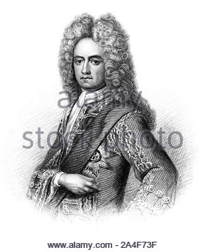 Charles Mordaunt portrait, 3rd Earl of Peterborough and 1st Earl of Monmouth, 1658 – 1735, was an English nobleman and military leader, vintage illustration form 1850 - Stock Photo