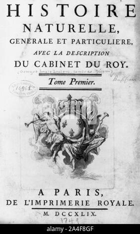 Title page of Buffon, Histoire naturelle, generale et particuliere, vol. 1, (Paris, 1749) - Stock Photo