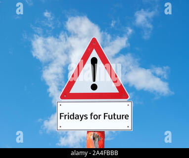 Fridays for Future Warn sign - Stock Photo