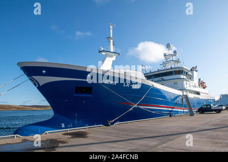 Shetland pelagic fleet and local trawlers tied up in Lerwick Shetland on a sunny day. - Stock Photo