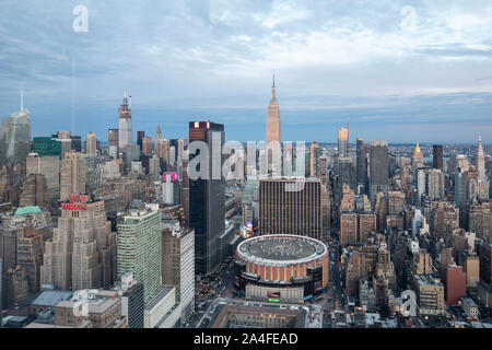 NEW YORK CITY, NY - October 5, 2019: Aerial view of the Madison Square Garden in Manhattan, New York City, NY, USA, looking West.