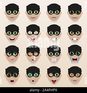 Set of cute thief emoticons. Various emotions of the character. Set of avatar icons. Vector illustration. - Stock Photo