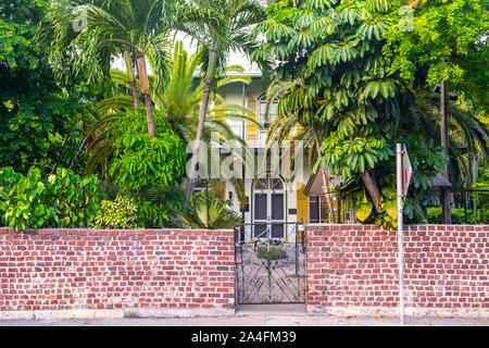 Key West, USA - September 12, 2019: Ernest Hemingway House in Key West - Stock Photo