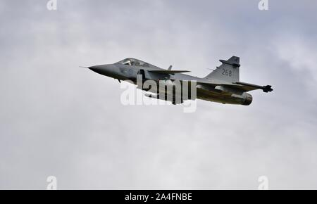 Swedish Air Force Saab JAS 39C Gripen multirole fighter aircraft airborne at the 2019 Royal International Air Tattoo - Stock Photo